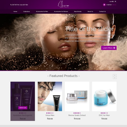 Our glamourous cosmetics online retail store needs a captivating page
