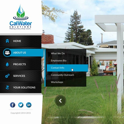 Create a dynamic website for CalWater Solutions: innovative design solutions to water scarcity