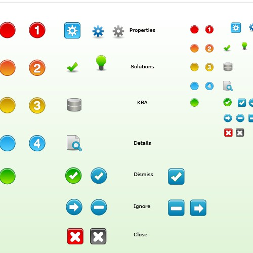 Icons needed for an IT Dashboard web-based application