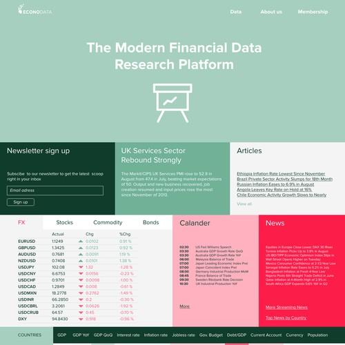 Clear and vivid web design for Financial Data platform