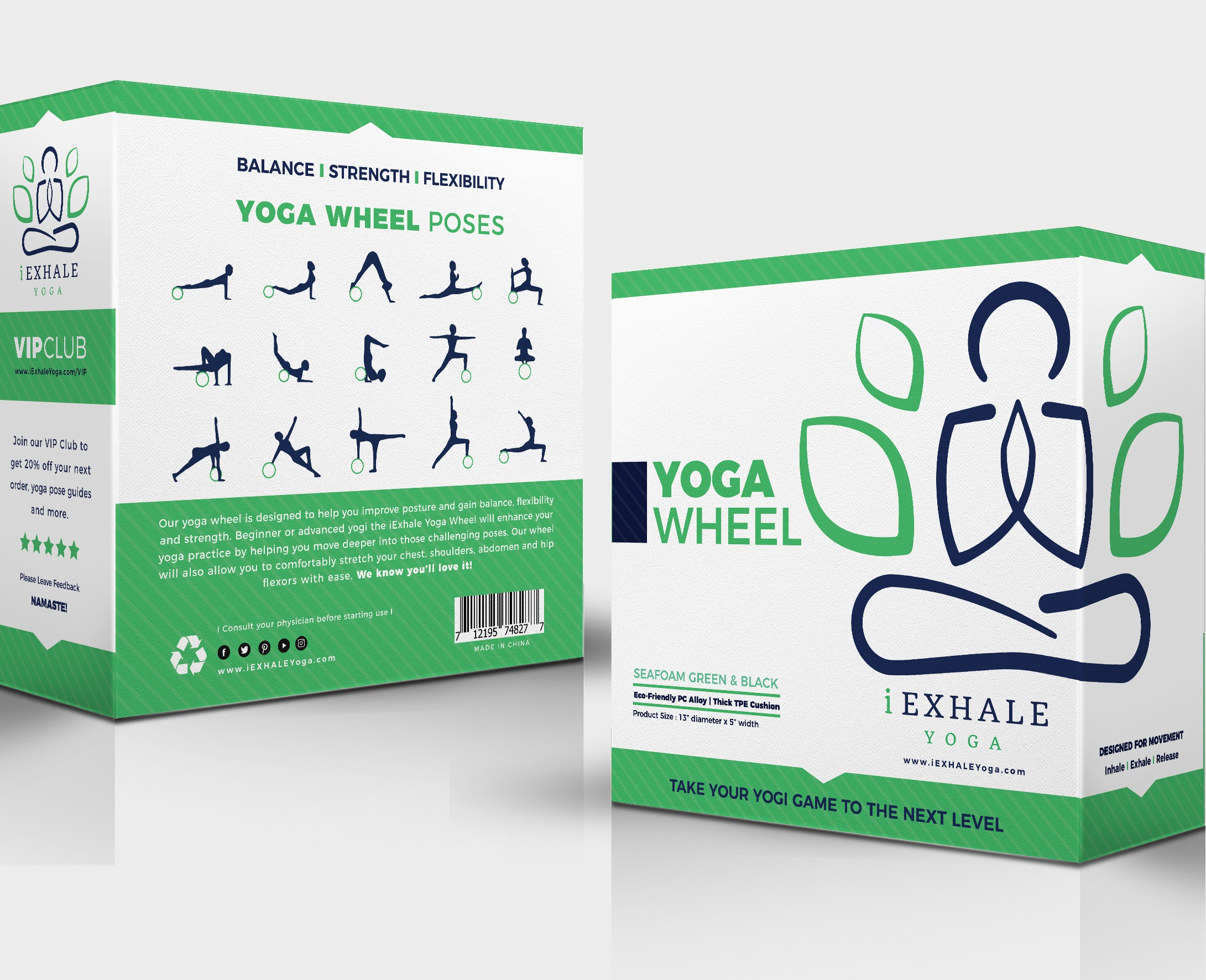 Duplicate packaging for iEXHALE Yoga Wheel