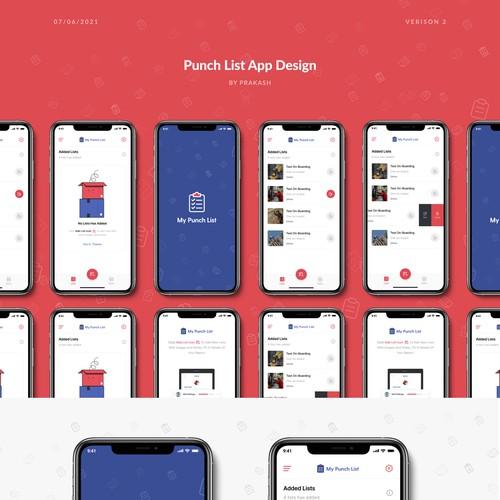 Punch list app design