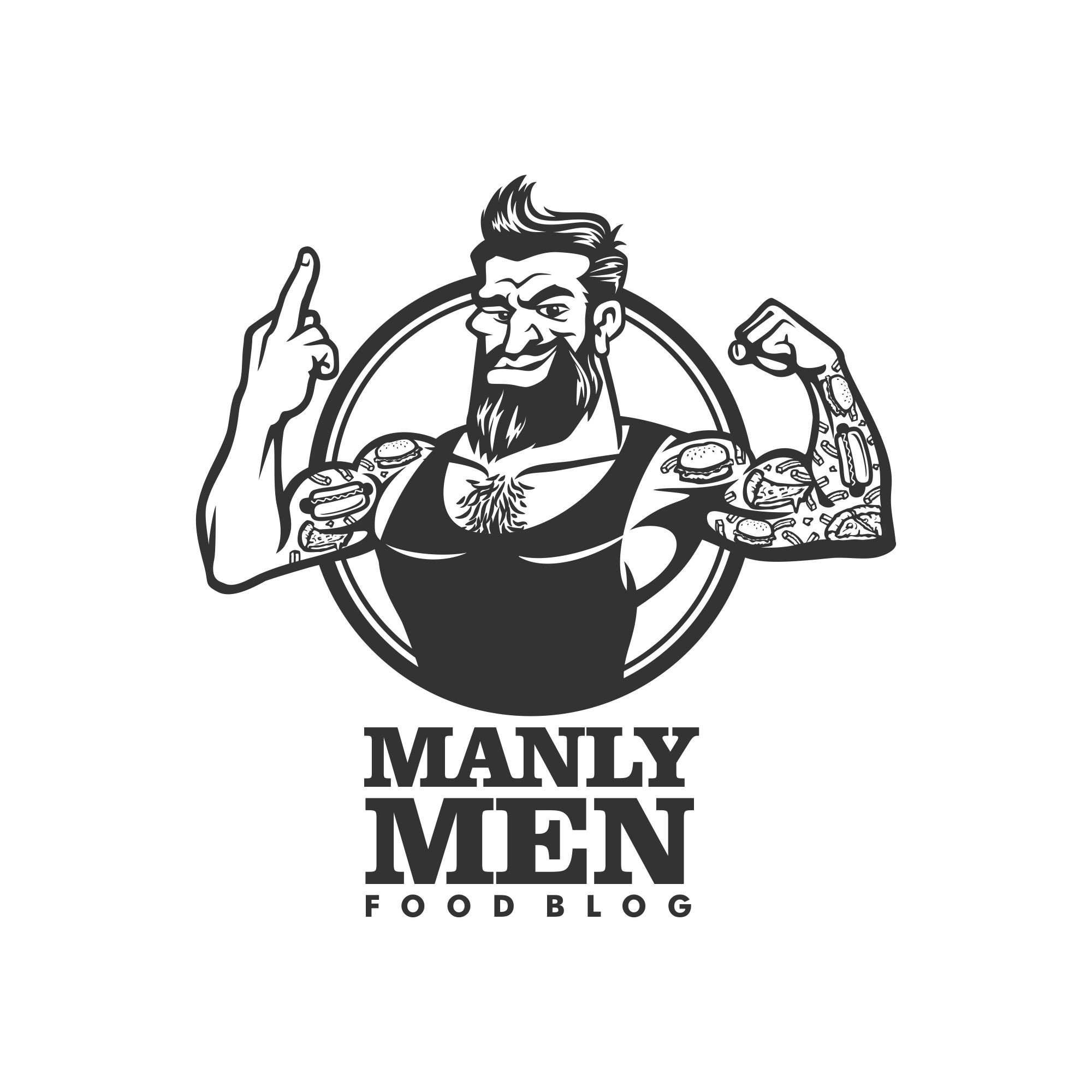 Fed up with all these girlie vegan Blogs? Help Manly Men Food Blog find a new Logo!