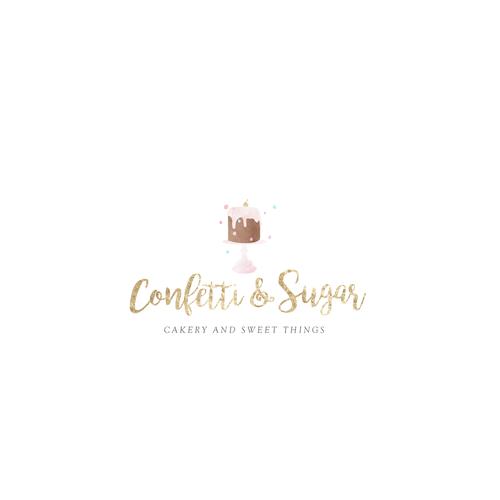 Glittery gold logo for bakery.