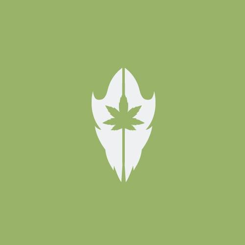 wolf skull with cannabis leaf
