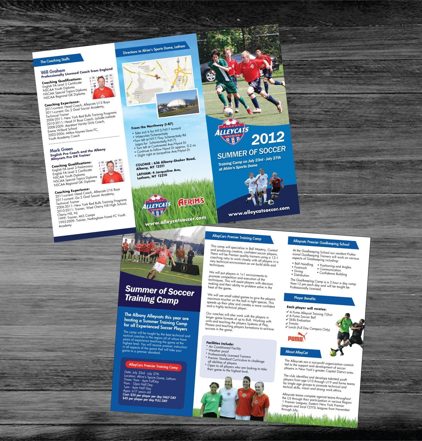 Soccer Camp Brochure wanted for Albany Alleycats Premier Soccer Club