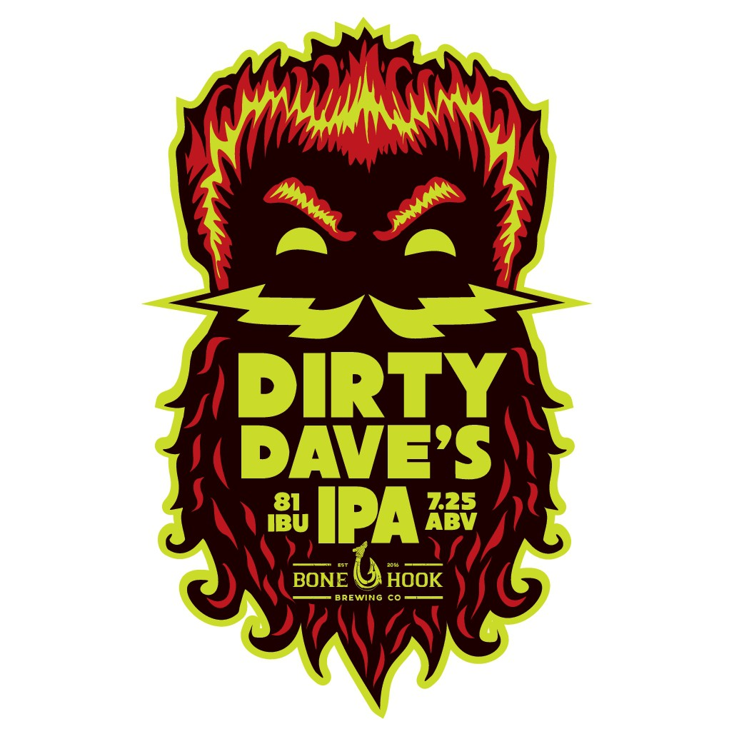 Cool and edgy craft beer logo for Dirty Dave's IPA (made by Bone Hook Brewing Co)