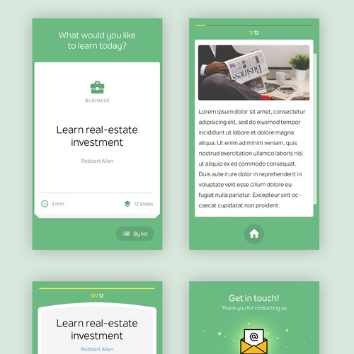 Design the pages for a mobile micro lesson education app