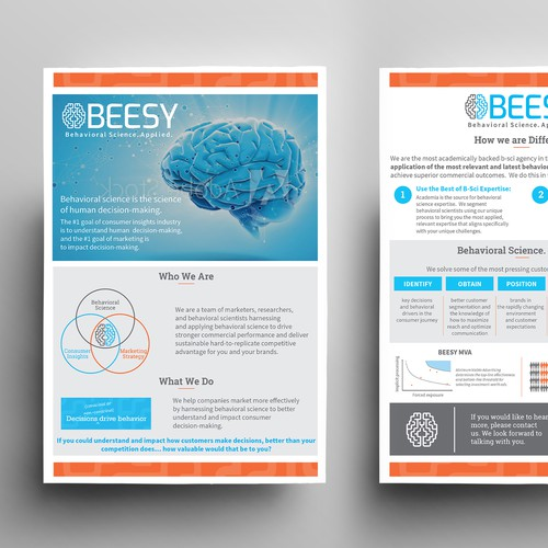 Marketing flyer for behavioral Science company