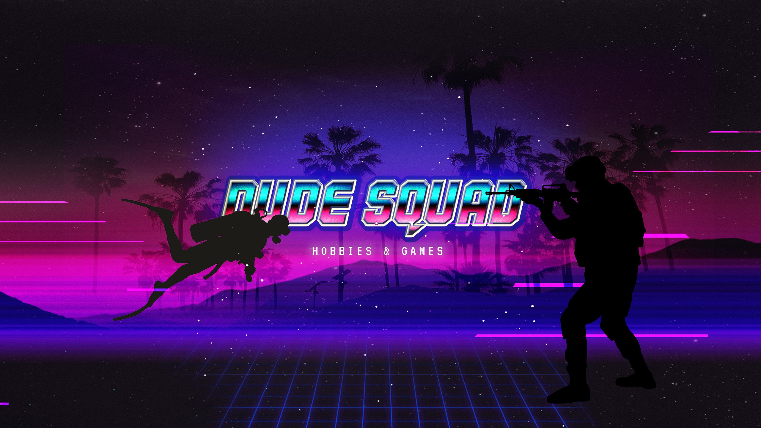 Create a cool RETRO banner for the YouTube channel DUDE Squad