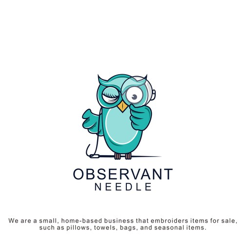 Design a playful logo for Observant Needle, an embroidery business