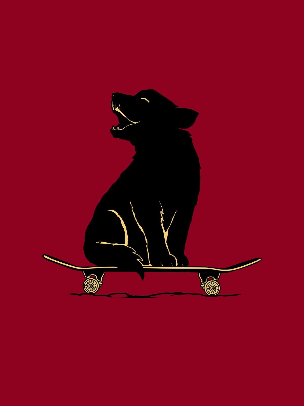 Happy cub wolf skateboarding t-shirt design!