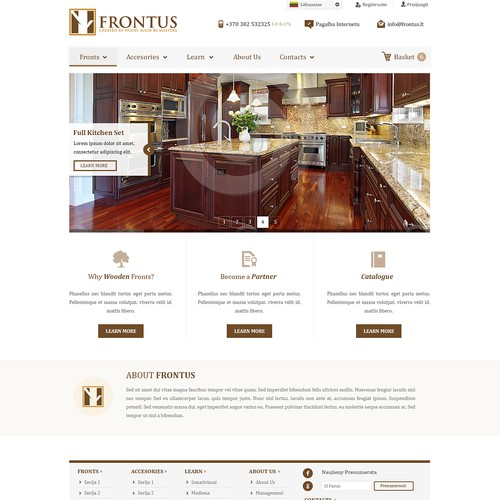 Frontus website design. Full WireFrame and 99% feedback.