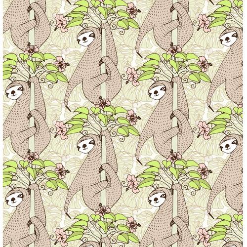 Seamless sloth pattern