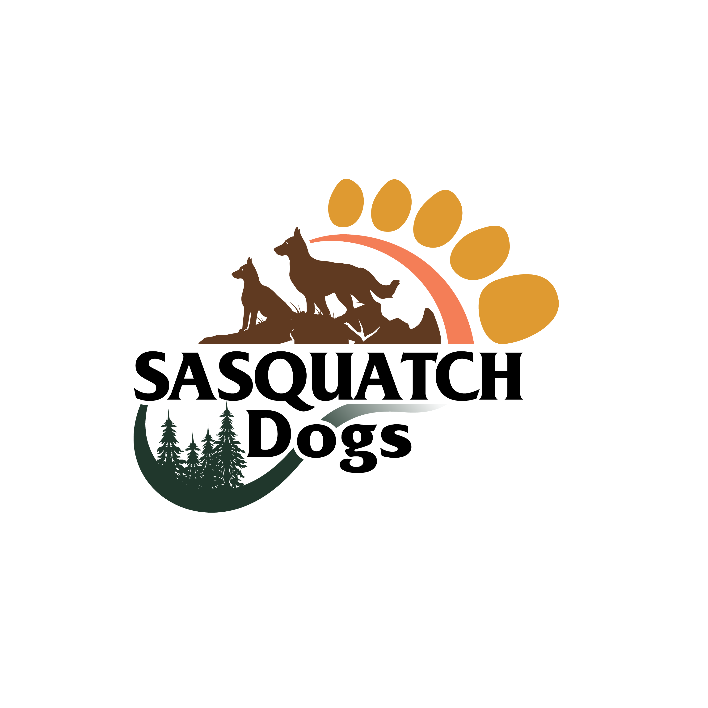 Logo and webpage for an outdoors loving, fun loving dog training company.