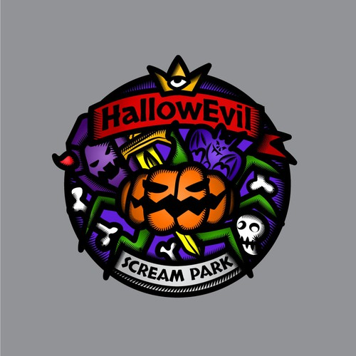 Logo for Halloween Theme Park in real castle