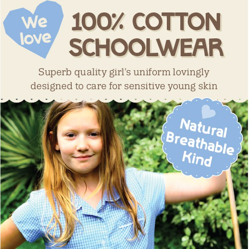 Create a beautiful, modern advert aimed at mums to advertise cotton school dresses