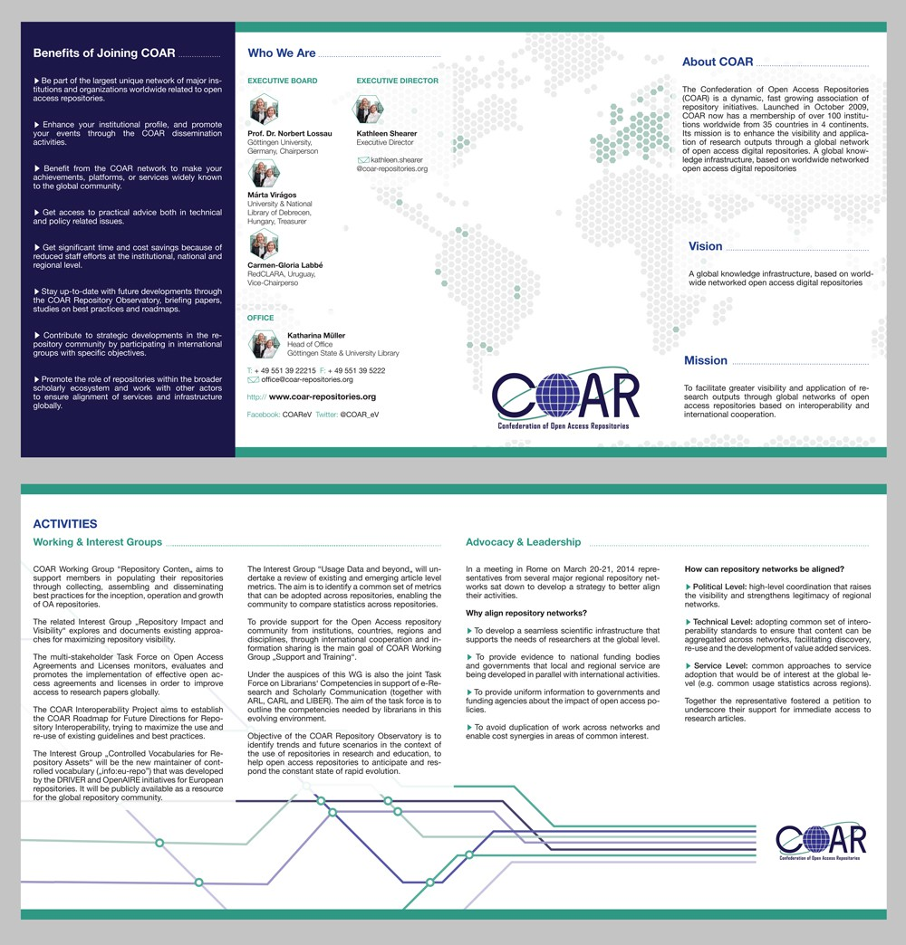 """Create a brochure for COAR with """"WOW"""" effect!"""