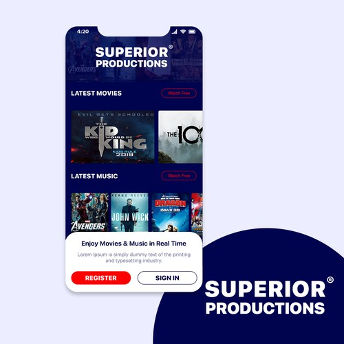 Superior Productions mobile app design