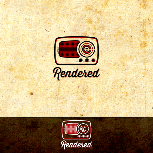 Logo for Rendered, an awesome, scrappy podcast/radio show about creativity