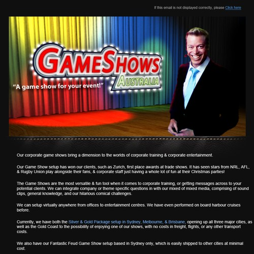 Create the next email for Game Shows Australia