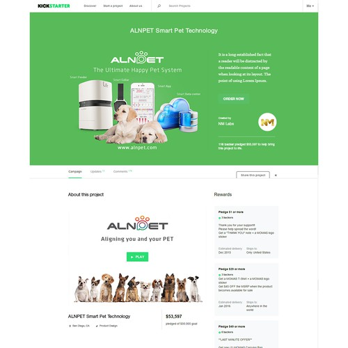 Kickstarter Page for ALNPET Smart Pet Technology
