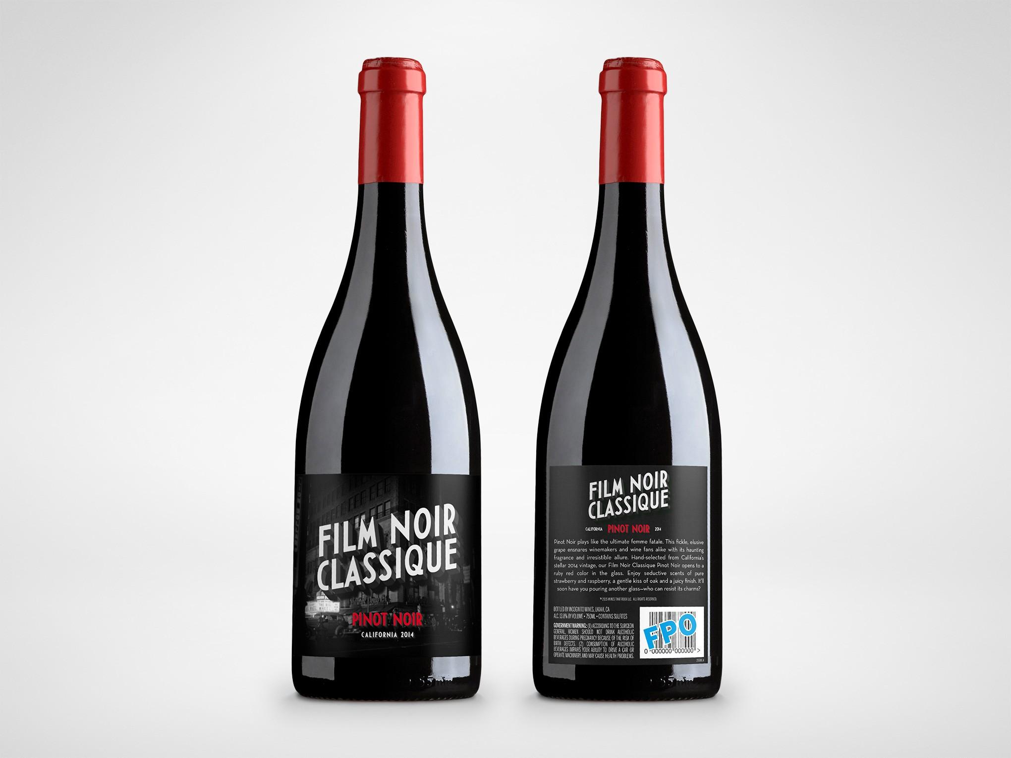 Movie Themed Wine Label - Film Noir Classique