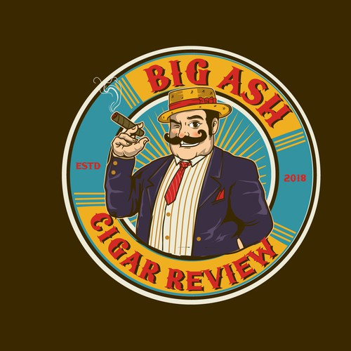 Vintage cigar label review badge