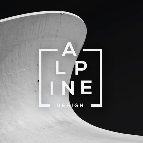 Typographic logo for Alpine Design