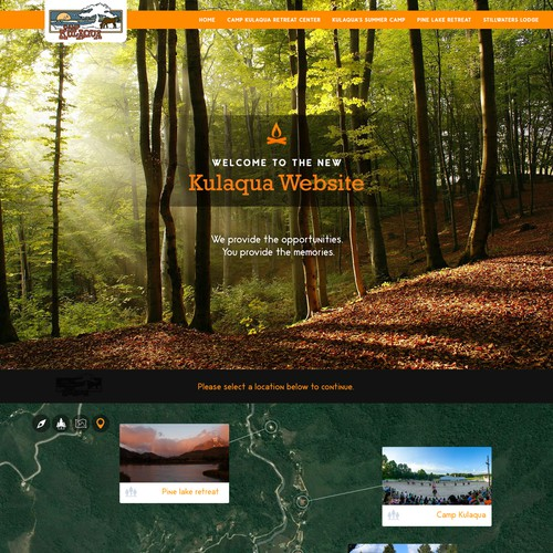 Create a new website design for the Camp Kulaqua - Camp and Retreat Center
