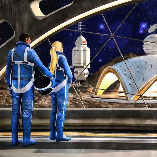 Vintage sci-fi space artwork