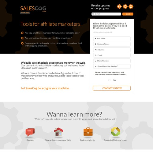 SalesCog affiliate marketers sign-up landing page