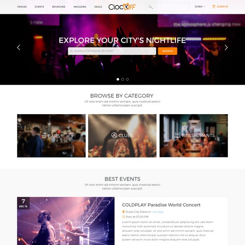Landing Page for Nightlife Guide
