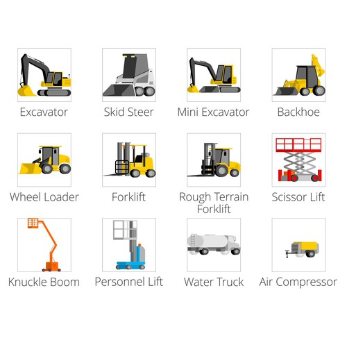 Icon set for construction equipment.