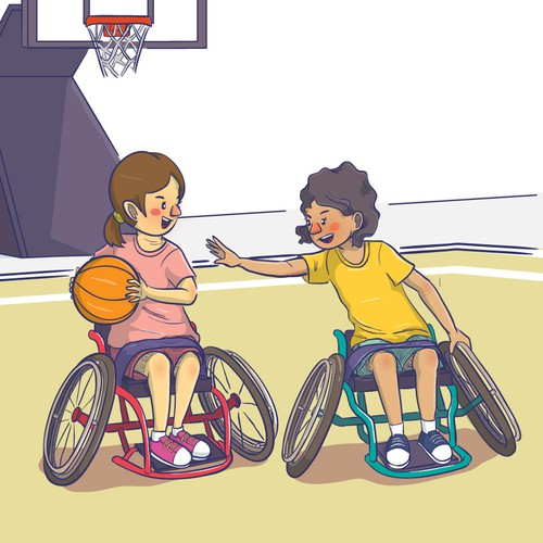 Illustration of disable children doing sports