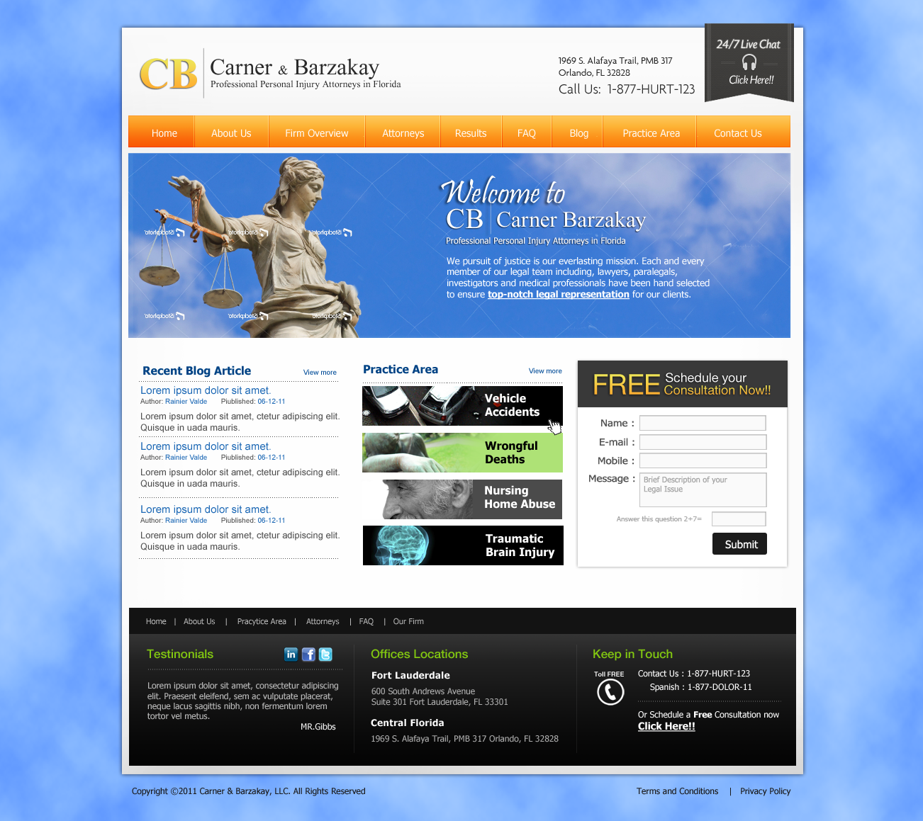 Cool, Clean, Current and Professional Web Design Needed for Florida Law Firm