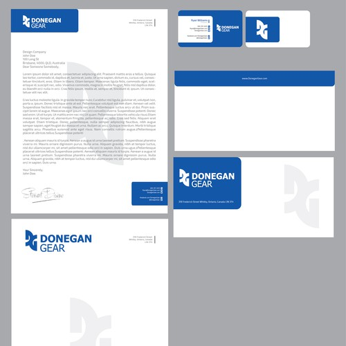 Donegan Gear: Letterhead, #10 Envelope & Business card