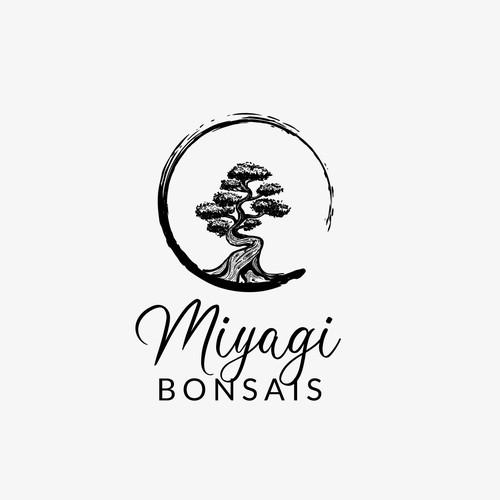 Artistic logo for a Bonsais shop