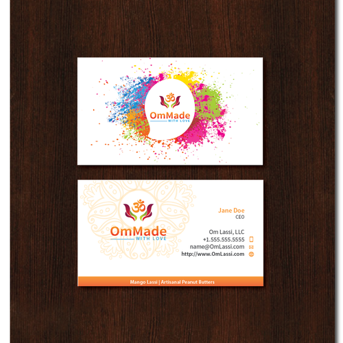 colorful business card design for Indian company