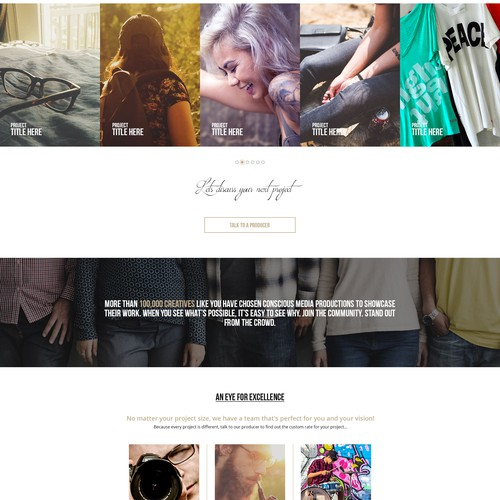 Website design concept for a Media production and Distribution company