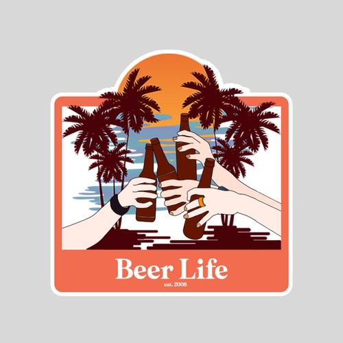 Beer Life stcker concept enjoy with brother