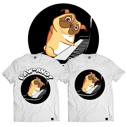 Winner - Paw-ano! Cute and funny pug illustration on shirt