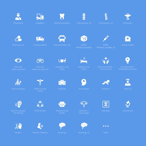 Icon set for Vector Care