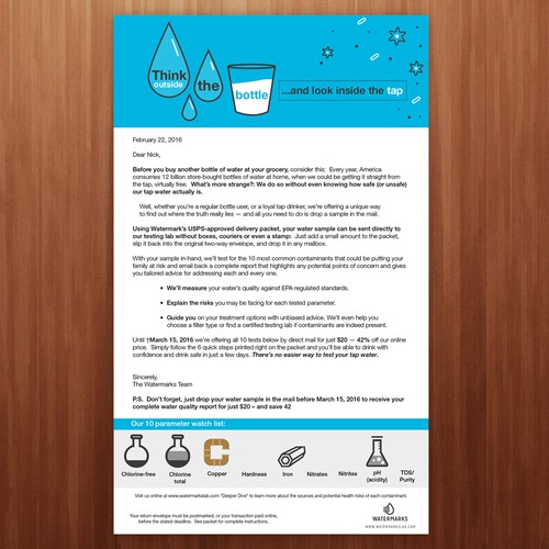 Improve graphics for direct mail letter for tap water testing.