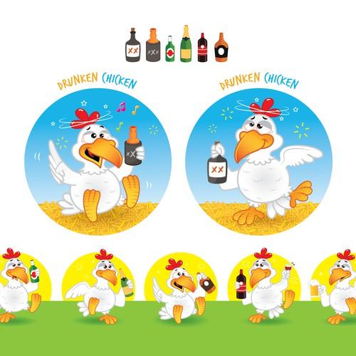 drunken chicken emoji