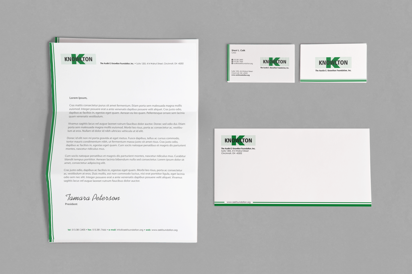 Create the next stationery for The Austin E. Knowlton Foundation, Inc.