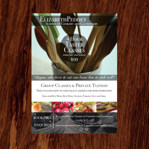 Flyer for a Cook class event