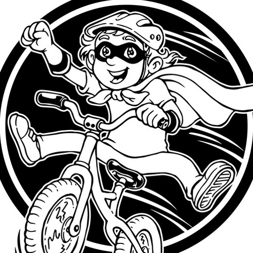 Create an illustration of a toddler acting like a super hero on a balance bike for use on a T-shirt