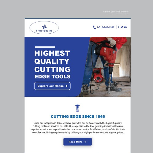 Newsletter design for a cutting tools company