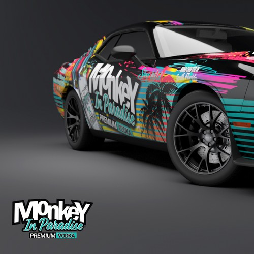 Premium Vodka Monkey In Paradise Car Wrap